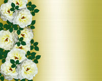 Wedding invitation white roses yellow satin royalty free stock photography