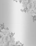 Wedding invitation White satin floral stock images