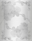 Wedding invitation White satin orchids  Stock Images