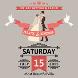Wedding Invitation With Cartoon Bride And Groom.Re Stock Photos