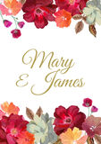 Wedding Invitation With Floral Background. Hand Drawn Flowers Wi Stock Image