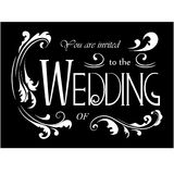 Wedding invitation wording with floral elements. Vector illustration Stock Image