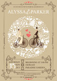 Wedding invitation.Wreath,Bride,groom,retro. Wedding invitation card with retro bride and groom on retro bicycle.Wreath icons  composition,swirling frame.Set of Royalty Free Stock Photo