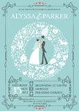 Wedding invitation with wreath composition.Bride Royalty Free Stock Images
