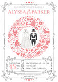 Wedding invitation with wreath composition.Retro Stock Image