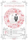 Wedding invitation with wreath composition.Retro Stock Image