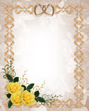 Wedding invitation yellow roses vector illustration