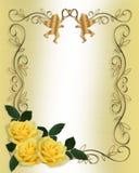 Wedding Invitation Yellow Roses Border stock illustration