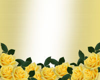 Wedding Invitation Yellow Roses Border Stock Image