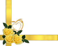 Wedding Invitation Yellow Roses Border Stock Photos