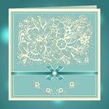 Wedding invitation with Zen-doodle flowers bow ribbon rhinestones in blue Stock Image