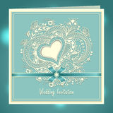 Wedding invitation with Zen-doodle Heart frame flowers bow ribbon in blue Royalty Free Stock Photography