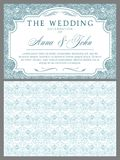 Wedding invitations in Baroque style. Light blue and white. Vintage, Rococo, damask patterns with leaves, floral elements royalty free illustration