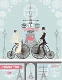 Wedding invitations.Bride,groom,bike,Paris Winter Royalty Free Stock Photo