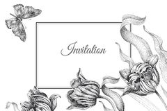 Wedding invitations templates cards with flowers tulips and butt Royalty Free Stock Image