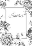 Wedding invitations templates cards with flowers peonies, roses. Stock Photo
