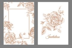 Wedding invitations templates cards with flowers peonies, roses Stock Photos