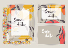 Wedding invitations, collection of vector wedding set with flora Royalty Free Stock Photography