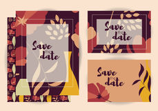 Wedding invitations, collection of vector wedding set Royalty Free Stock Photos