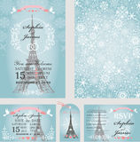 Wedding invitations.Eifel tower,snowflakes.Paris Royalty Free Stock Photo