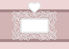 Wedding Invitations. Wedding invitation with decorative a pearl frame and heart, with space for text. Postcard  for wedding, marriage, bridal, birthday Stock Photography