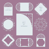 Wedding invitations. Lace background with place for text. Lace frames for decoration and design. Vector illustration Royalty Free Stock Photos