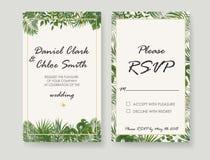 Wedding Invitation, rsvp modern card Design. Vector natural, bot. Wedding Invitations, RSVP modern card design.watercolor, Botanical, natural style. save the vector illustration