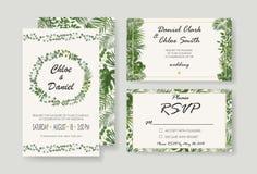 Wedding Invitation, rsvp modern card Design. Vector natural, bot. Wedding Invitations, RSVP modern card design.watercolor, Botanical, natural style. save the royalty free illustration