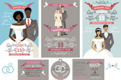 Wedding invitations set.Different bride and groom Stock Images