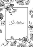 Wedding invitations templates cards with flowers loach. Royalty Free Stock Photo