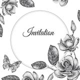 Wedding invitations templates cards with flowers magnolias. Stock Photography