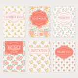 Wedding invitations, thank you cards and sale labels. Royalty Free Stock Images