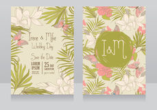 Wedding invitations in tropical style with hibiscus flowers and butterflies. Vector illustration Royalty Free Stock Image