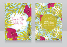 Wedding invitations in tropical style with hibiscus flowers and butterflies Royalty Free Stock Photos