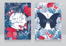 Wedding invitations in tropical style with hibiscus flowers and butterflies. Vector illustration Stock Photo