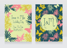 Wedding invitations in tropical style. Vector illustration Stock Images