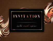 Wedding invitations vintage, golden frame, retro texture. Card with an abstract background for the holiday. Royalty Free Stock Images