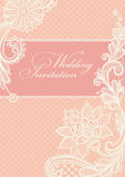 Wedding invitations with vintage lace background. Stock Photography