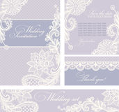 Wedding invitations with vintage lace background. Stock Image