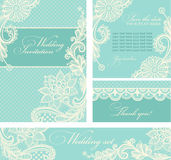 Wedding invitations with vintage lace background. Stock Photo