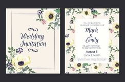 Wedding Invitations with white anemone flowers. Invitation cards in light pink theme. Vector illustration.  royalty free illustration