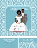Wedding  invitations.Winter paisley pattern,groom,bride Royalty Free Stock Photo