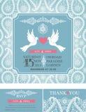 Wedding  invitations.Winter paisley pattern,pigeons Stock Photo