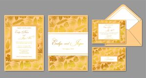 Wedding invite, envelope, rsvp, holiday card. Design with golden. Palm leaves and gold frames in vintage style. Vector chic layout vector illustration