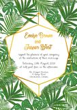 Wedding invite, envelope, rsvp, holiday card. Design with Green. Howea palm leaves on a beige background and frames in summer style. Vector tropical layout Royalty Free Stock Photos