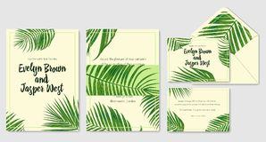 Wedding invite, envelope, rsvp, label save the date greeting car. D set. Design with green areca palm leaves  in a rustic style & green frame. Vector cute Royalty Free Stock Image
