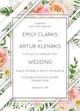 Wedding invite invitation card floral design. Garden pink peach royalty free illustration