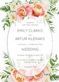 Wedding invite, invitation card floral design. Garden pink peach vector illustration