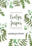 Wedding invite invitation card vector floral greenery design. Fe. Rn, eucalyptus, boxwood, botanical green, decorative square. Postcard template vector illustration