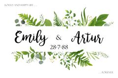 Wedding invite invitation card vector floral greenery design: Fo. Rest fern frond, Eucalyptus branch green leaves foliage herb greenery, berry frame, border Stock Image